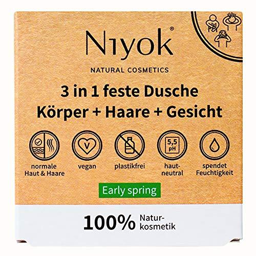 Niyok® 3 in 1 feste Dusche | festes Duschgel Shampoo Gesichtsreinigung | vegan Bio plastikfrei | normales bis feines Haar | wie Seife nur hautneutral pH 5,5 Naturkosmetik | Early Spring (80g)
