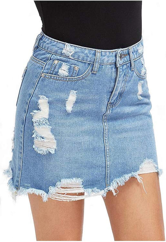 Solarfire Skirts Women Blue Ripped Casual Mini Denim Skirt New Bodycon Women Skirt Basic Pocket Jeans Skirt,Blue,S