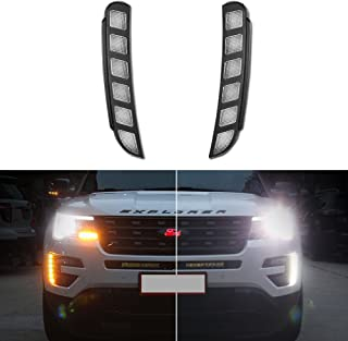 GTINTHEBOX High Power Switchback Amber & White Dual Color LED Front Bumper DRL Fog Driving Lights Extremely Bright with Turn Signal Lamp Kit Perfect Fit For 2016 2017 2018 Ford Explorer