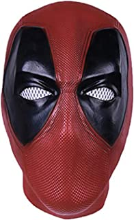 Deadpool Costume Mask for Adult - DP Wade Full Face Mask Deluxe Full Head Latex Movie Helmet Cosplay Red