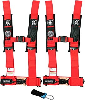 Pro Armor A114230RD P151100 Red 4-Point Harness 3' Straps, 2 Pack w/Seat Belt Bypass Clip