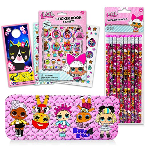 LOL Dolls School Supplies Bundle Lol Dolls Craft Set - 12 Pcs Lol Doll Activity Set with Stickers, Pencils, and More (Lol Dolls Party Supplies)