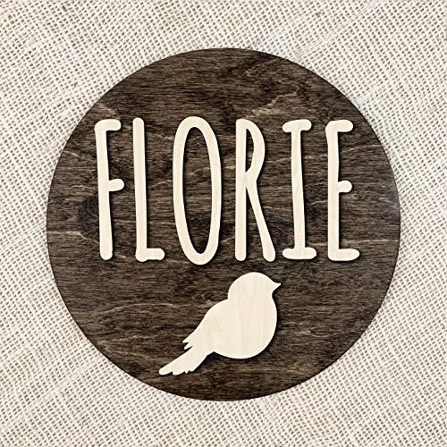 Ced454sy aangepaste naam vogel teken gepersonaliseerd eerste hout plaque ronde hout aangepaste naam vogel kwekerij teken