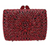 Bonjanvye Studded Shining Bags for Girls Wedding and Party Evening Clutches Bag Red