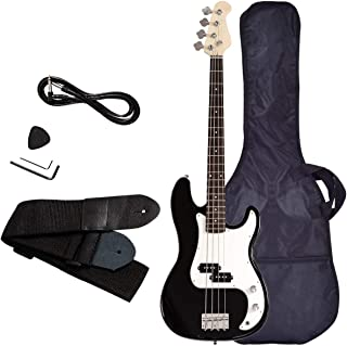 Electric Bass Guitar, Safeplus Starters Acoustic Guitar Full Size 4 String Package with Guitar Bag, Strap, Guitar pick, Amp cord