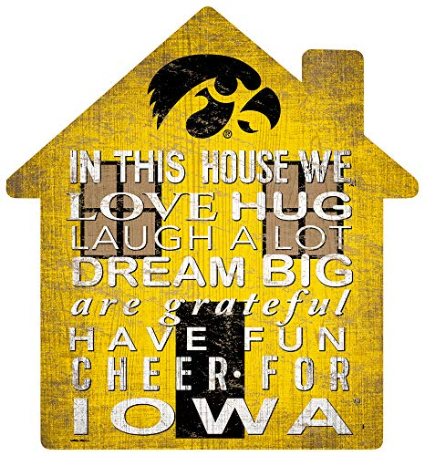 NCAA Iowa Hawkeyes Unisex Iowa House Sign, Team Color, 12 inch
