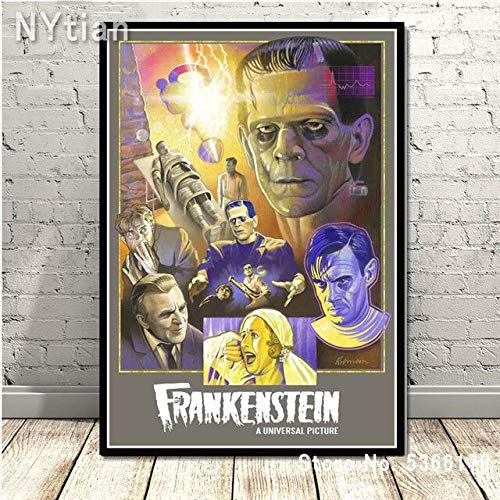 shuimanjinshan Retro Frankenstein Universal Monsters Horror Movie Poster Wall Art Canvas Painting Picture Prints Home Living Room Decoration 50X70Cm No Frame H-9352