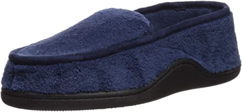 Isotoner Men's Microterry Slip On Slippers, X-Large, Navy