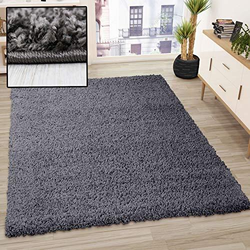 VIMODA Prime Shaggy Teppich Farbe Anthrazit Hochflor Langflor Teppiche Modern, Maße:80x150 cm