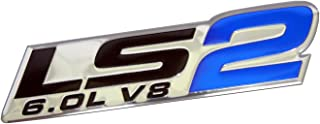 ERPART LS2 6.0L V8 Blue Engine Emblems Badges Highly Polished Aluminum Chrome Silver Compatible with Chevy Corvette Holden HSV Pontiac Saab Cadillac