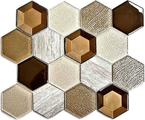 Mosaik Fliese Transluzent beige Hexagon Glasmosaik Crystal Stein 3D beige für WAND BAD WC DUSCHE KÜCHE FLIESENSPIEGEL THEKENVERKLEIDUNG BADEWANNENVERKLEIDUNG Mosaikmatte Mosaikplatte