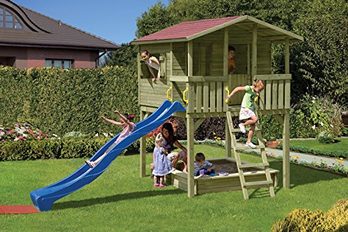 Gartenwelt Riegelsberger Maison de jeu Michaela - Dimensions : 240 x 226 x 304 cm - Avec portes et volets - Maison pour enfants - Sans toboggan et bac à sable
