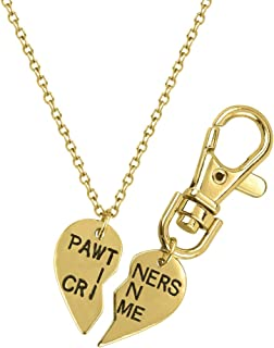 PAWtners in Crime Partners Necklace Matching Dog Tag Collar Keychain