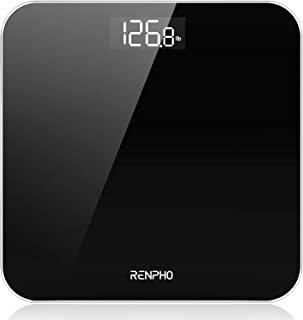 RENPHO Digital Bathroom Scale, Highly Accurate Body Weight Scale with Round Corner Design, Lighted LED Display, 400 lb, Black