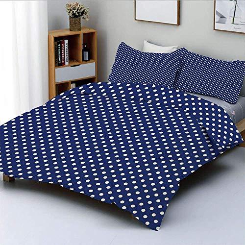 Juego de funda nórdica, patrón con lunares blancos sobre un fondo azul marino marino marinero Azulejo vintage decorativo Juego de ropa de cama de 3 piezas con 2 fundas de almohada, blanco azul