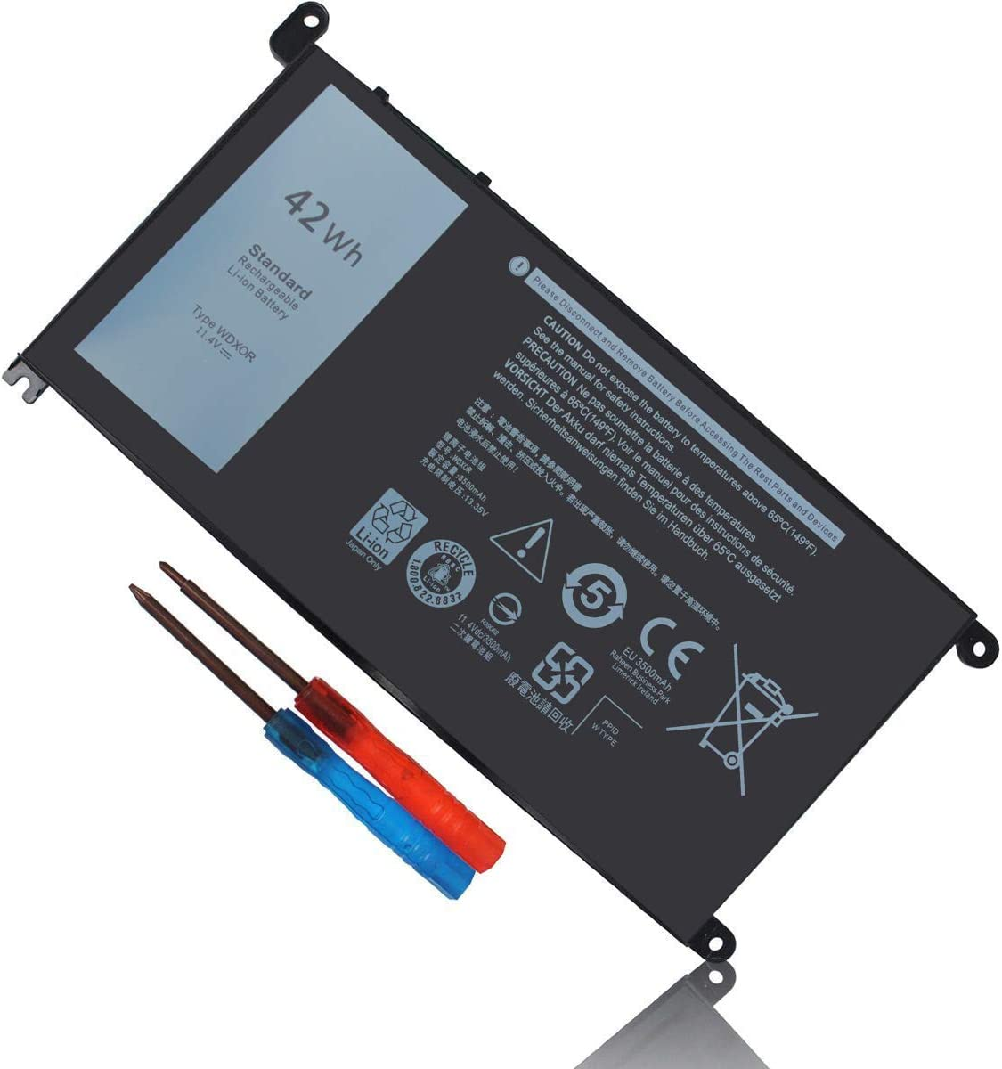 WDXOR WDX0R Laptop Battery for Dell Inspiron 15 5568 5578 5378 7579 7569 5565 7570 7560 5570 5579 5567 7573 P58F 17 5767 5765 5770 13 5368 7378 7368 5379 14 7460 3CRH3 FC92N T2JX4 CYMGM -42Wh/11.4V