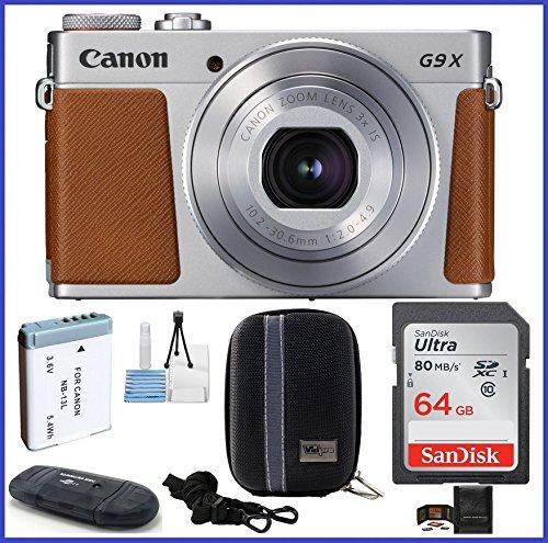 Canon PowerShot G9 X Mark II Digital Camera Bundle (64GB with Spare Battery Bundle, Silver)