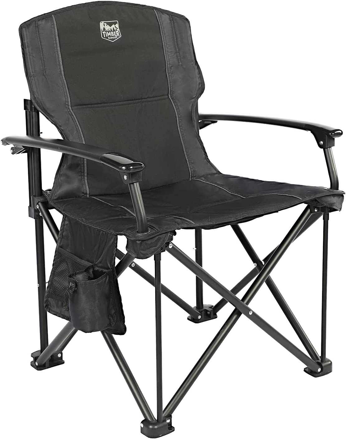 TIMBER RIDGE Lightweight Portable Outdoor Aluminum Folding Camping Quad Chair with Hard Armrest-Support Capacity 300 lbs.