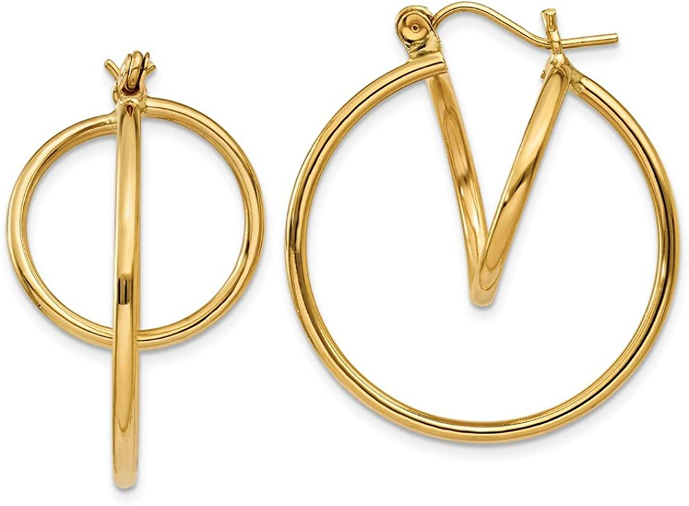 14k Yellow Gold Fashion Circle Hoop Earrings Ear Hoops Set Fine Jewelry For Women Gifts For Her