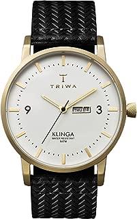 Triwa Ivory Klinga Unisex Day and Date Watch Brushed Goldtone Black Leather Strap KLST103 GC010113