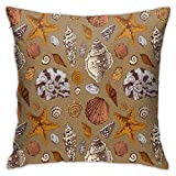DHNKW Throw Pillow Case Cushion Cover,Underwater Starfish Shell Mollusk Seaurchin Sea Horse Pearl Illustration ,18x18 Inches