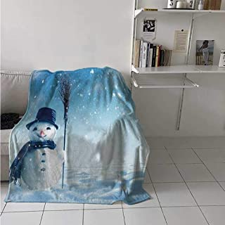 maisi Snowman Lightweight Blanket Snow Covered Wintry Landscape with Cute Happy Snowman Cold Outdoors Digital Printing Blanket 50x30 Inch Dark Blue Pale Blue White