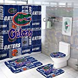 4 Pcs Florida Shower Curtain Sets with Non-Slip Rug, Toilet Lid Cover and Bath Mat, Gato-rs Shower Curtain with 12 Hooks, Bathroom Decor Sets with Shower Curtains and Rugs