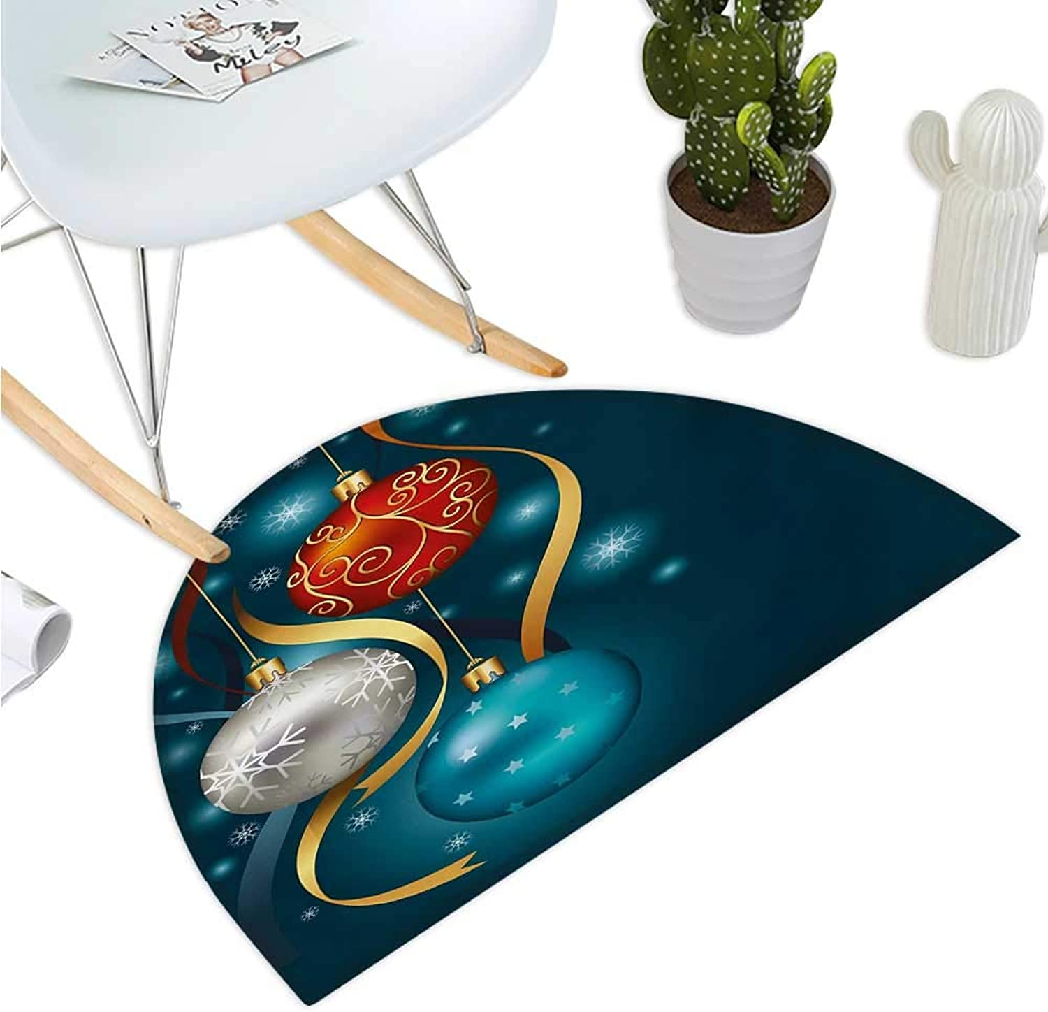 Christmas Semicircular Cushion Vivid Classical Baubles with Ribbons and Different Patterns Abstract Bathroom Mat H 39.3  xD 59  Petrol bluee Grey Red