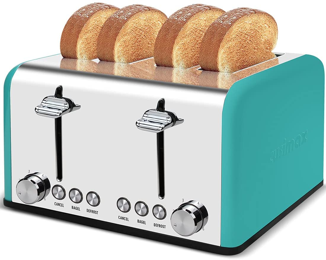CUSIMAX Toaster 4 Slice Stainless Steel 4 Slice Toaster with Extra Wide Slot Toasters with Bagel/Defrost/Cancle, 6 Shade Settings and Removable Crumb Tray, 1650W, Green