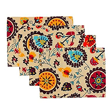KEPSWET Bohemia Set of 4 Rural Simple Double Layer Reversible Placemat Sets Table Mats Coffee Dinner Table Place Mats Dinner Cloth Doilies Value Pack 4pcs (11.8x15.7Inch, C)