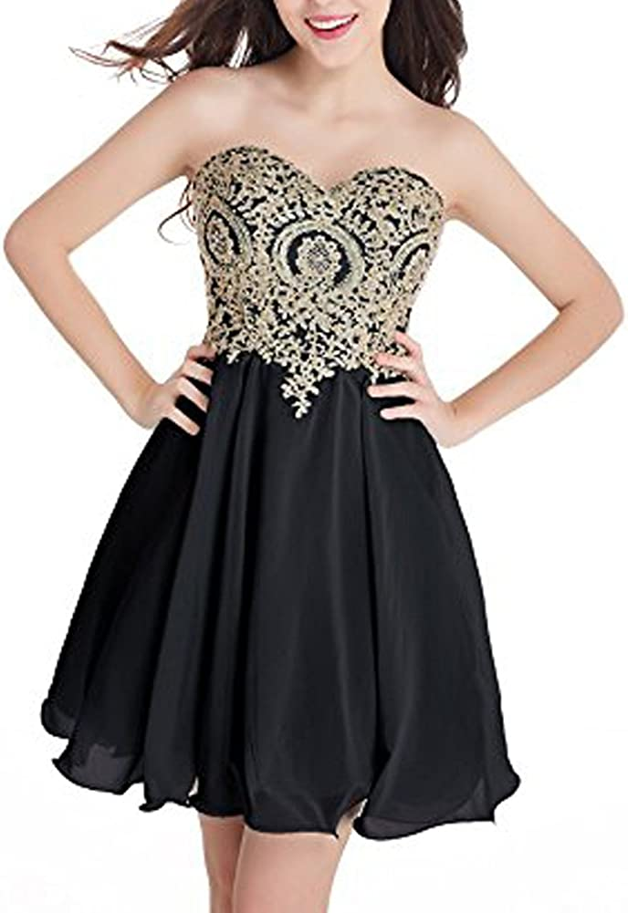 Ai 5 popular Finally popular brand Maria Women's Gold Lace Short Homecoming Quinceanera Applique