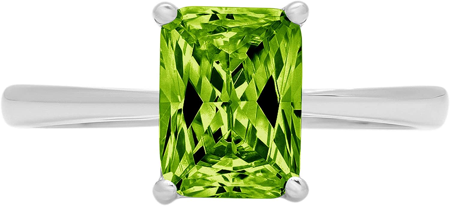 2.0 ct Brilliant Emerald Cut Solitaire Designer Genuine Natural Green Peridot Gemstone Ideal VVS1 4-Prong Engagement Wedding Bridal Promise Anniversary Ring Solid 14k White Gold for Women