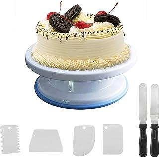 opamoo Assiette à gâteau rotative, Presentoir Gateau Rotatif à 360 ° Kits de décoration Tournant de Gâteau Professionnel P...