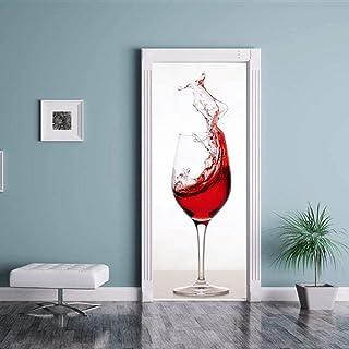 Sticker Porte En Verre De Vin Rouge Autocollant Étanche 3D Autocollants De Porte Chambre Salon Stickers Muraux Amovible Pa...