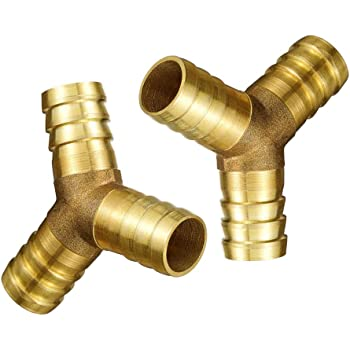 sy66 2PCS Brass Hose Splicer Fitting Y-shaped Tee 3//4 3//8 5//8 Hose Barb Tee T Union Fitting Intersection Y-shape 2, 1//2 12MM