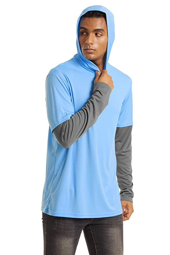 Hoodie T-Shirts Sun Protection Quick Dry Long Sleeve Rashguard TACVASEN Mens UPF 50