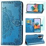 Yohii Funda para Xiaomi Redmi Note 10 Pro/Note 10 Pro MAX + Cristal Templado, Libro Caso Piel PU Soporte Plegable Ranuras Cartera con Tapa Tarjetas Magnético Cuero Flip Carcasas - Azul