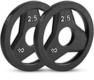 """Day 1 Fitness Cast Iron Olympic 2-Inch Grip Plate for Barbell, 25 Pound Set of 2 Plates Iron Grip Plates for Weightlifting, Crossfit - 2"""" Weight Plate for Bodybuilding"""