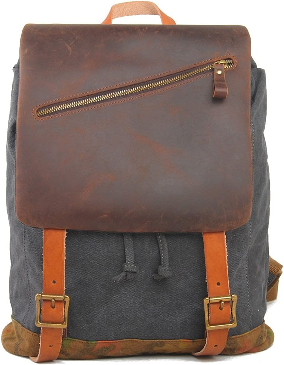 Backpack Canvas Genuine Leather Flap Contrast color for Women Men
