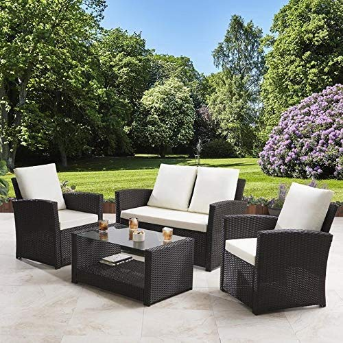 General Packaging Rattan Garden Furniture 4 Piece Patio Set Wicker Weave Table Chairs Outdoor Conservatory (Grey with Cream)