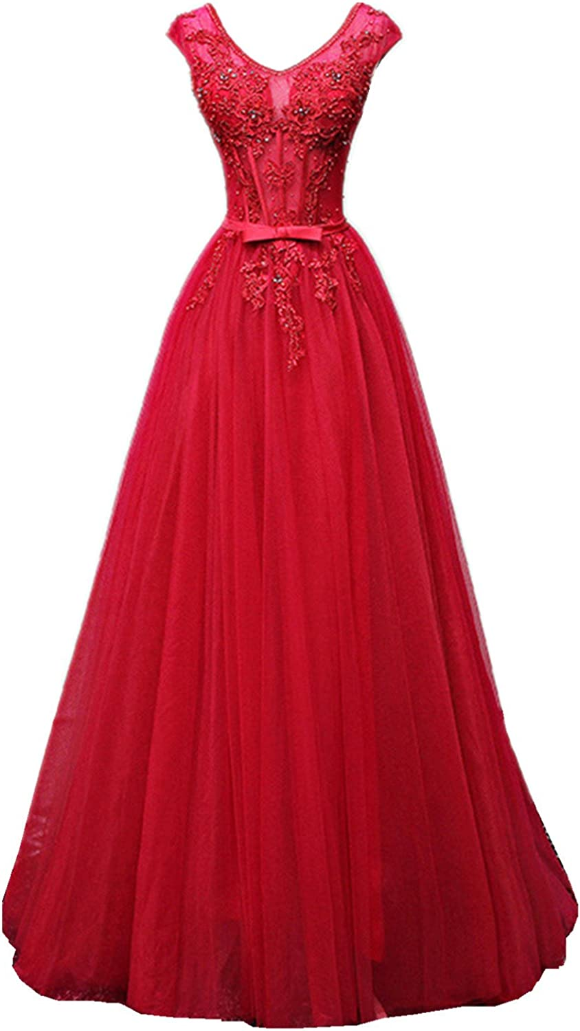 XSWPL Elegant Womens Lace Prom Dresses with Beaded Cap Sleeves Tulle Evening Gowns
