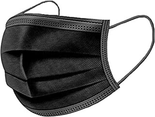 RESPIRA Disposable Face Protective Mask: 3-Ply, Black, Provides Protection Against Pollution, Smog, Dust and Bacteria, 50 ...