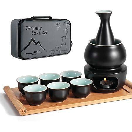 Dltsli Ceramic Sake Set with Warmer Pot Bamboo Tray, Stovetop Porcelain Pottery Hot Saki Drink Bottle, 10pcs Set 1 Stove 1 Warming Bowl 1 Sake Bottle 1 Tray 6 Cup Keep Sake Storage Gift Box (Black)