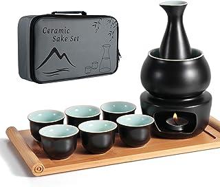 Keramisk sake-set + värmare kruka bambubricka, säker för spishäll traditionell japansk keramik varm Saki-dryck, 10 delar i...