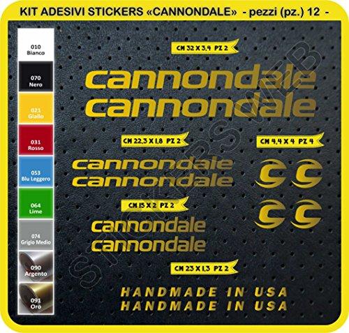 Code 0089- Cannondale Fahrrad-Aufkleber, selbstklebend, 12Sticker, Auswahl von Farben - ORO cod. 091