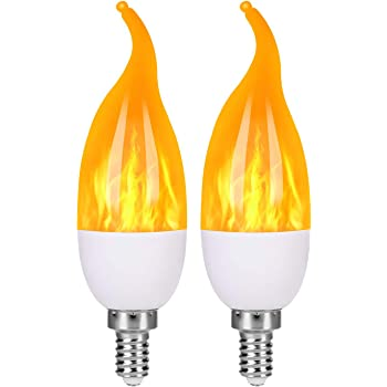 LED VIVID FLAME-LED Flame Bulb Flame Effect Light with UL Certification for E12 Base Chandelier Light Candle Light Bulbs LED Flickering Bulbs for Cafe//Garden//Hotel//Party//Bar 4 Pack