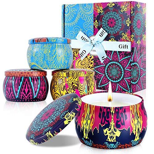 STRMZD velas aromaticas Caja de regalo,Cera de soja, 4.4OZ, puede arder durante 120 horas,Regalos para damas, velas de descompresión enlatadas portátiles, yoga,Bañarse, cumpleaños, día de San Valentín