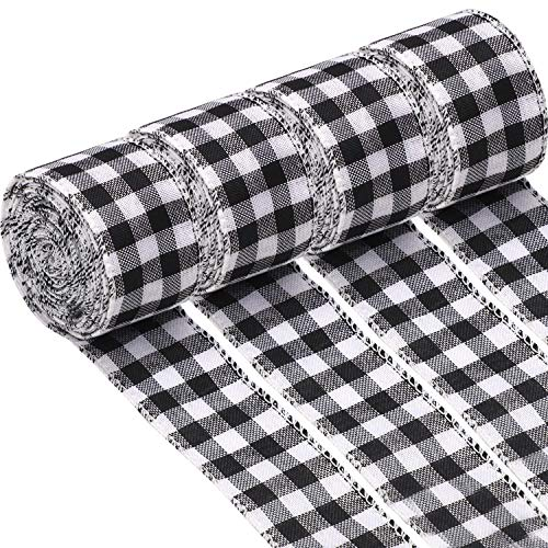 URATOT 4 Rolls White and Black Plaid Burlap Christmas Wrapping Ribbon Gingham Christmas Tree Bows Wired Plaid Ribbon for Crafts Decoration, Christmas Wreaths Craft(White and Black, 5cm x 6m)