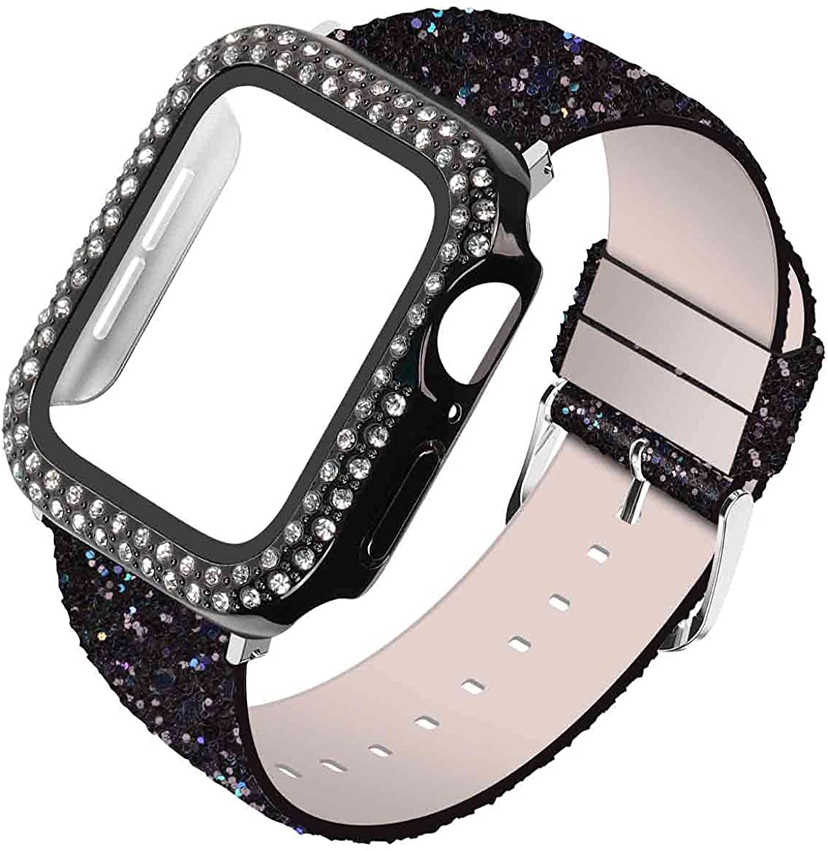 Wolait Compatible with Apple Watch Band with Glass Screen Protector 44mm 40mm,iWatch Leather Glitter Sparkly Wristband Bracelet with Bling Diamond Case for iWatch SE Series 6 5 4 Women-40mm