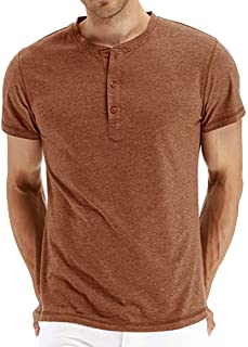 2020 New Men's Short Sleeve Comfortable and Breathable T-Shirt Regular Fit Casual Tee Top (Color : Orange, Size : XXL)